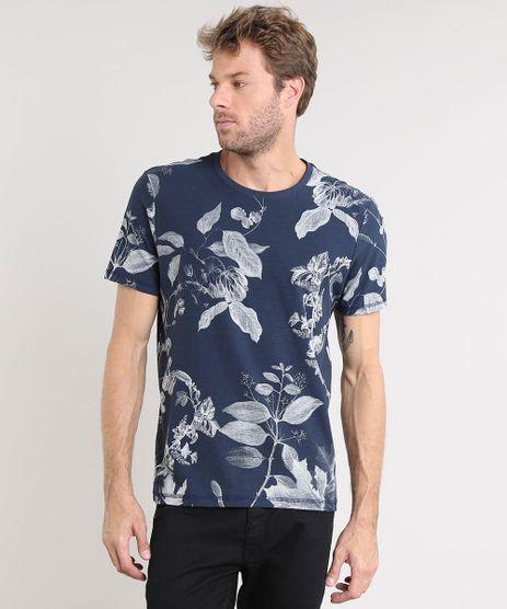 Camiseta-Masculina-Estampada-de-Folhagem-Manga-Curta-Gola-Careca-Azul-Marinho-9522490-Azul_Marinho_1