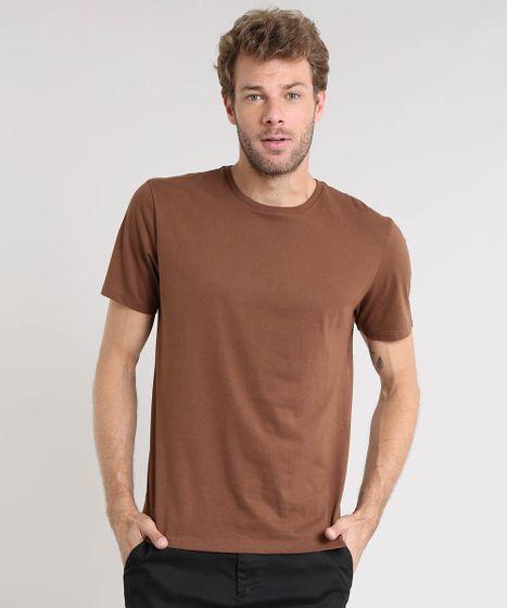 b06a1f8c12 Camiseta Masculina Básica Manga Curta Gola Careca Marrom - cea