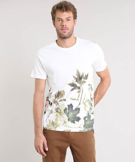 Camiseta-Masculina-com-Estampa-de-Folhagem-Manga-Curta-Gola-Careca-Off-White-9522489-Off_White_1