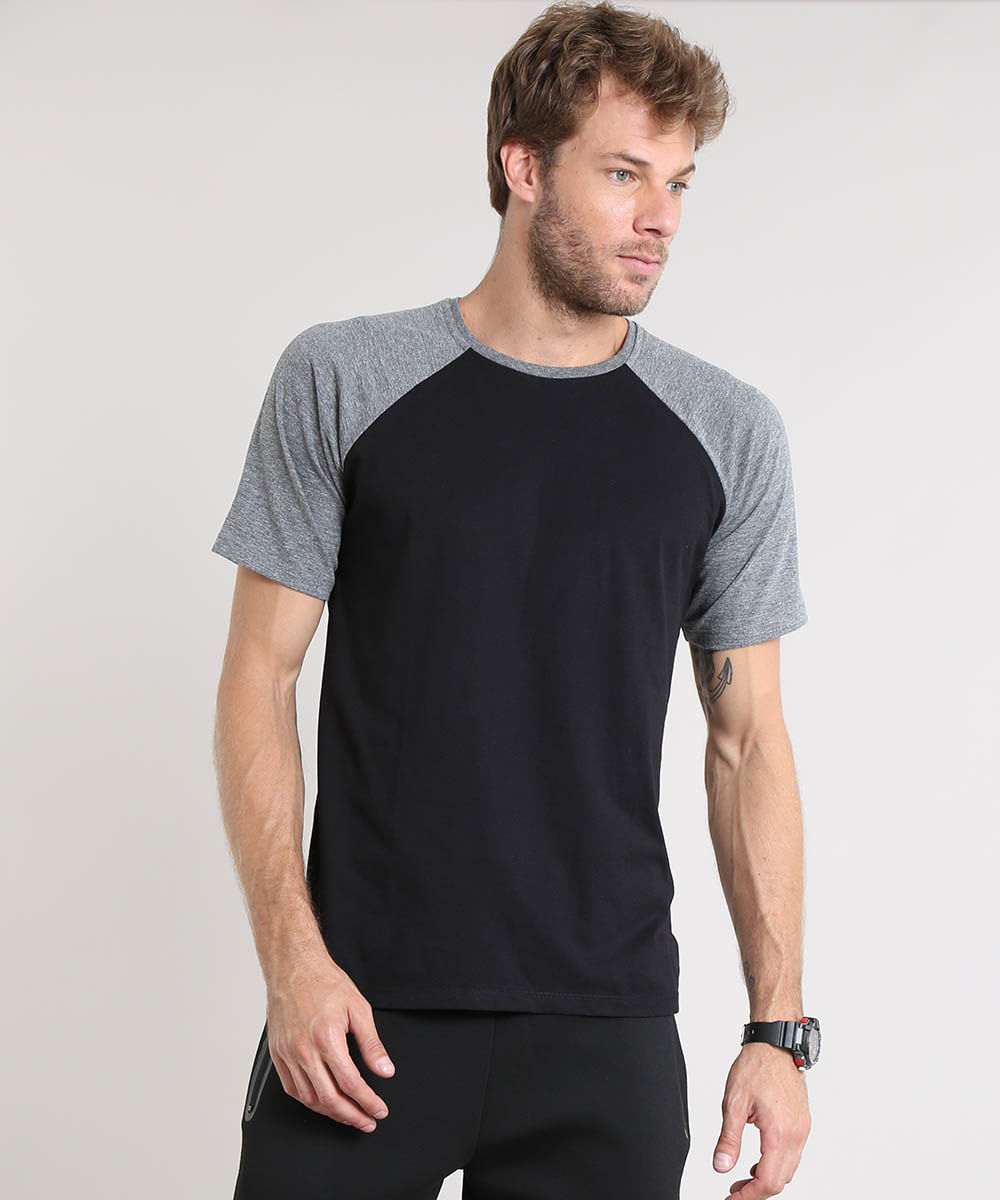 bc7f34074d Camiseta Masculina Básica Raglan Manga Curta Gola Careca Preta - cea