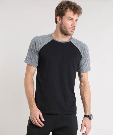 9625ca9d23 Camiseta Masculina Básica Raglan Manga Curta Gola Careca Preta - cea