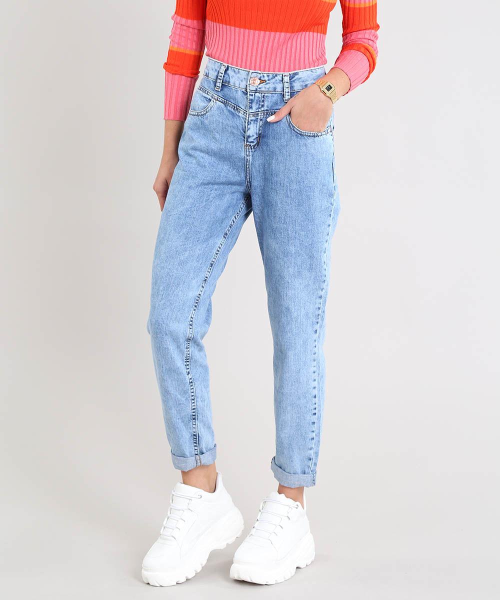 a4220f115 Calça Jeans Feminina Mom com Recorte Azul Claro - cea