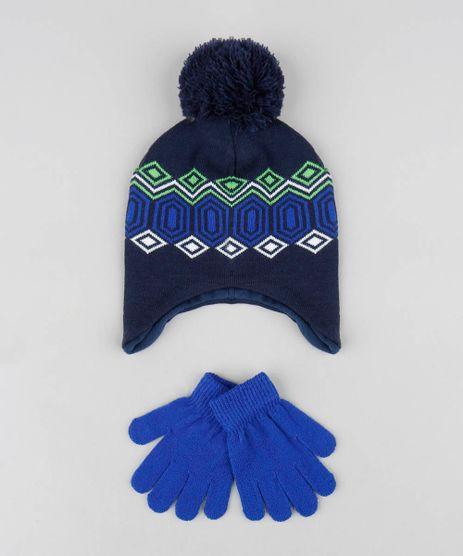 Kit-de-Gorro-Infantil-com-Pompom---Luva-em-Trico-Azul-Marinho-9369101-Azul_Marinho_2