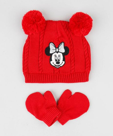 Kit-de-Gorro-Infantil-Minnie-com-Pompom---Luva-em-Trico-Vermelho-9361078-Vermelho_1