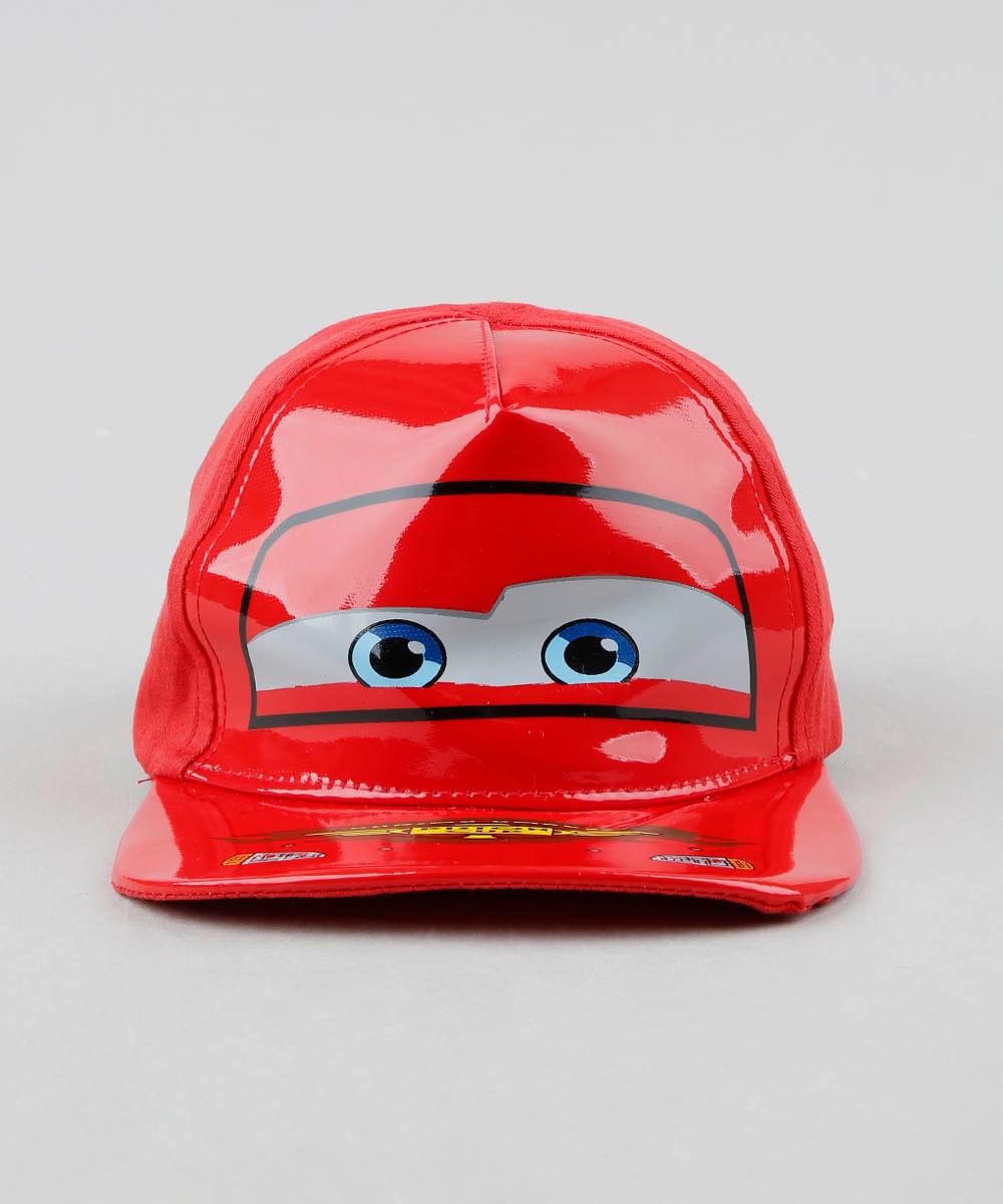 03b7e511f87e4 Boné Infantil Aba Reta Relâmpago McQueen Carros com Vinil Vermelho - cea