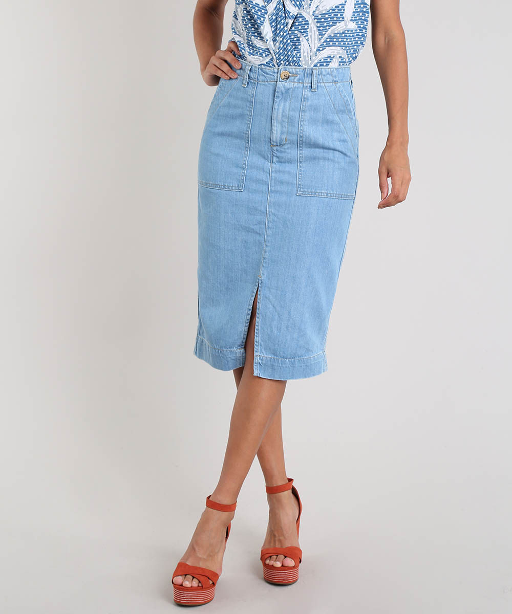 fbb9bfeb5 Saia Jeans Feminina Midi com Fenda Azul Claro - cea