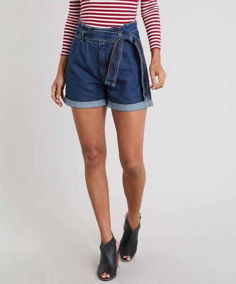 7fab15ade9 Short-Jeans-Feminino-Clochard-com-Barra-Dobrada-Azul-