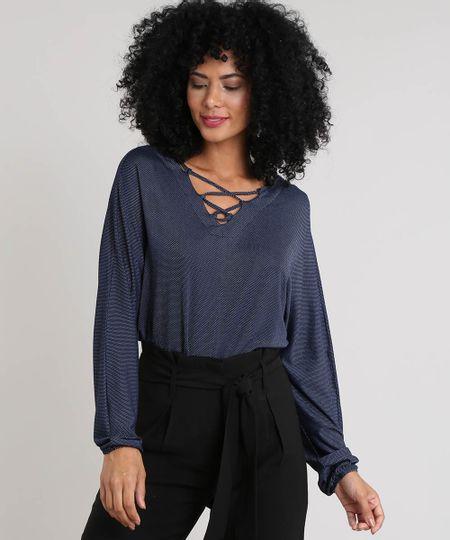 0f1af34d5a Menor preço em Blusa Feminina Ampla com Lace Up Manga Longa Decote V Azul  Marinho