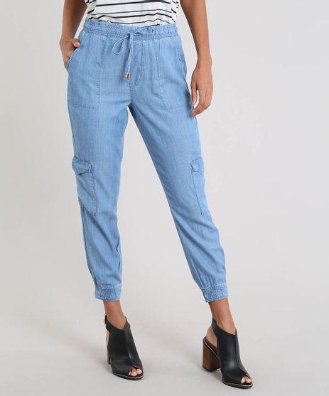 6fa70bfe3355 Calca-Jeans-Feminina-Jogger-Cargo-Azul-Claro-9532124-