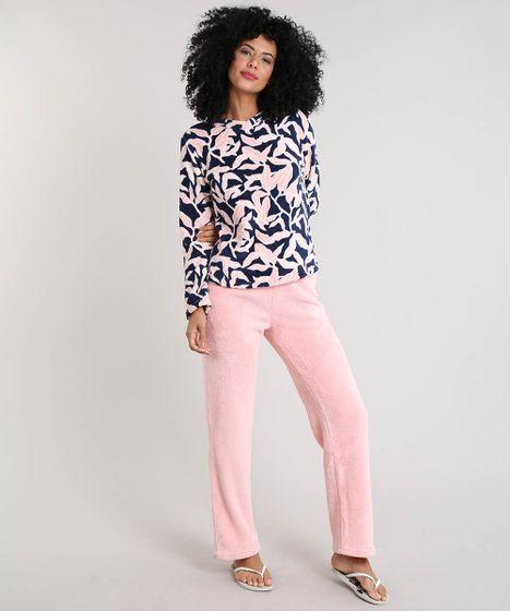 228befb5a Pijama Feminino em Plush Estampado de Folhagem Rosa Claro - cea