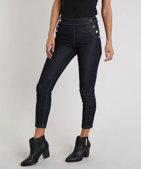Calca-Jeans-Feminina-Cigarrete-com-Botoes-Azul-Escuro-9532130-Azul_Escuro_1