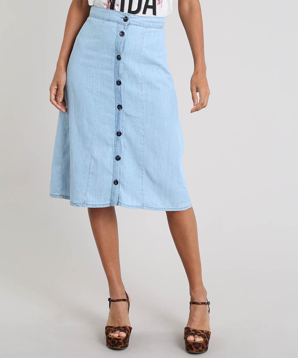 11525304e Saia Jeans Feminina Midi com Botões Azul Claro - cea