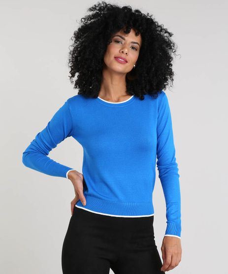 Sueter-Feminino-Basico-em-Trico-Decote-Redondo-Azul-9325451-Azul_1