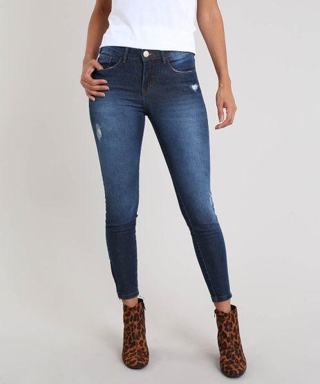 b1bf6e9f3860 Calca-Jeans-Feminina-Super-Skinny-Destroyed-Azul-Escuro-