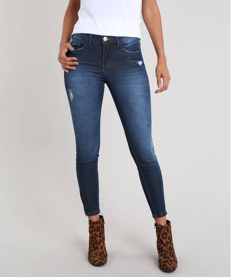 aeebf5b62 Calça Jeans Feminina Super Skinny Destroyed Azul Escuro - cea