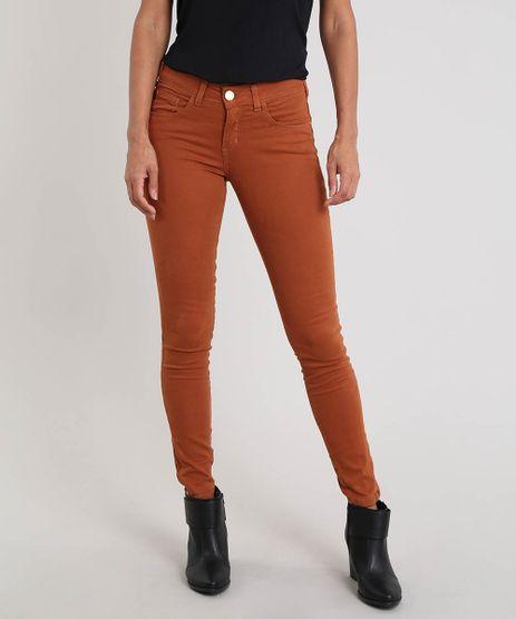 Calca-de-Sarja-Feminina-Super-Skinny-com-Ziper-Marrom-9546064-Marrom_1