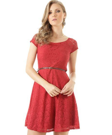 c695bc8d2 Vestido-em-Renda-com-Cinto-Vinho-8407062-Vinho_1. Moda Feminina