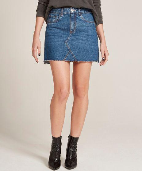 Saia-Jeans-Feminina-Evase-Destroyed-com-Barra-Desfiada-Azul-Medio-9310414-Azul_Medio_1