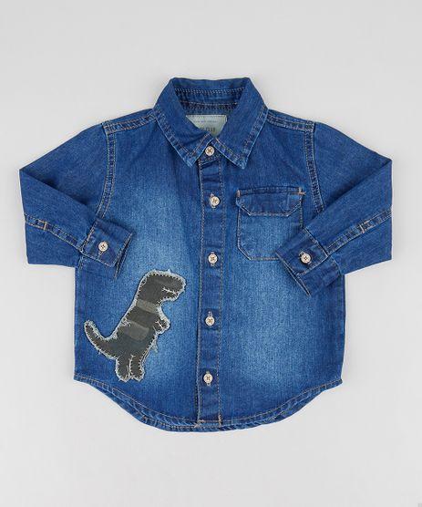 Camisa-Jeans-Infantil-com-Dinossauro-Manga-Longa-Azul-Medio-9469646-Azul_Medio_1