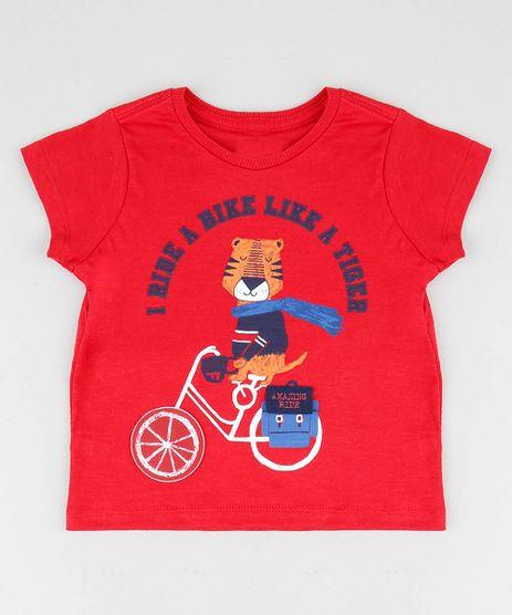 Camiseta-Infantil-com-Estampa-Interativa-de-Tigre-Manga-Curta-Gola-Careca-Vermelha-9449988-Vermelho_1