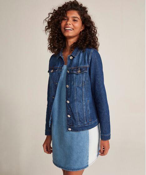 84434e5d8b9b2 Jaqueta-Jeans-Feminina-com-Bolsos-Azul-Escuro-9463443- ...
