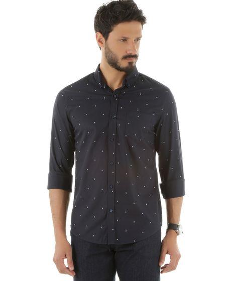 101de4b090 Camisa-Social-Estampada-de-Ancoras-Azul-Marinho-8452753- ...