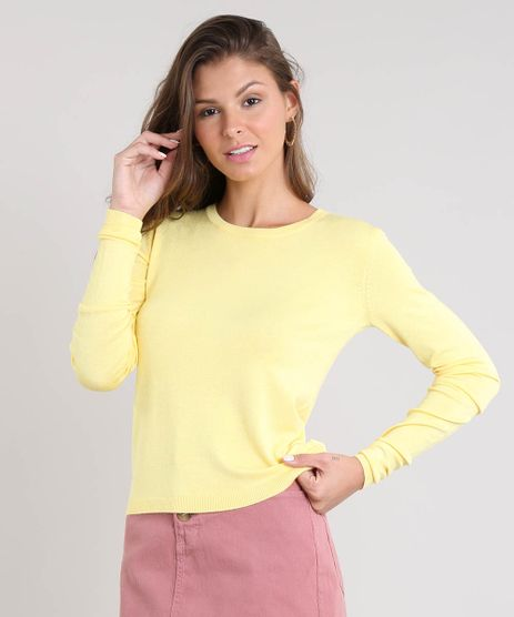 Sueter-Feminino-Basico-em-Trico-Decote-Redondo-Amarelo-Claro-9325342-Amarelo_Claro_1