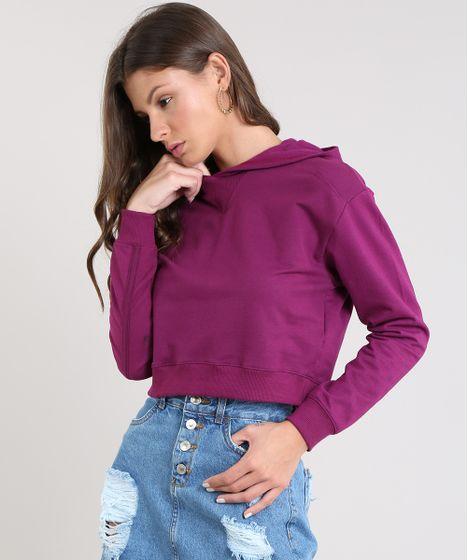 48acc8dfb2b Blusão Feminino Básico Cropped com Capuz em Moletom Roxo - cea