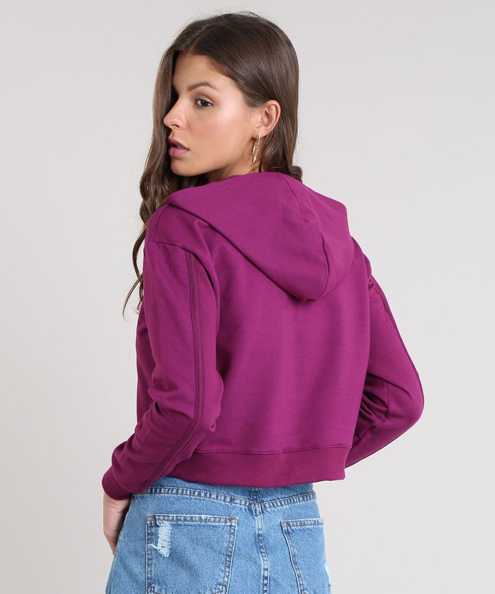 daea2c442e0 Blusão Feminino Básico Cropped com Capuz em Moletom Caramelo - cea