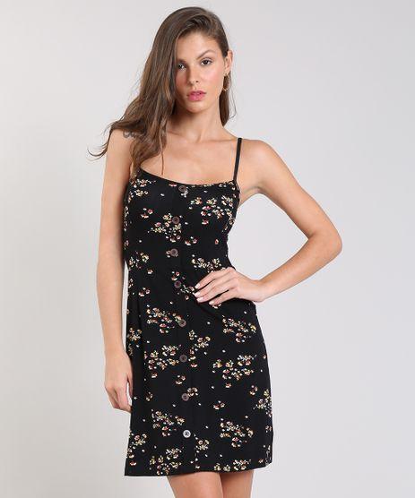 353e7541e Vestido-Feminino-Curto-Estampado-Floral-com-Botoes-Alca-