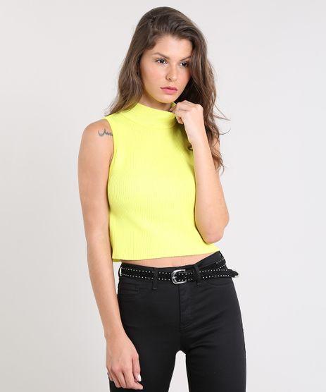 Regata-Feminina-Cropped-em-Trico-Gola-Alta-Amarela-Neon-9502153-Amarelo_Neon_1