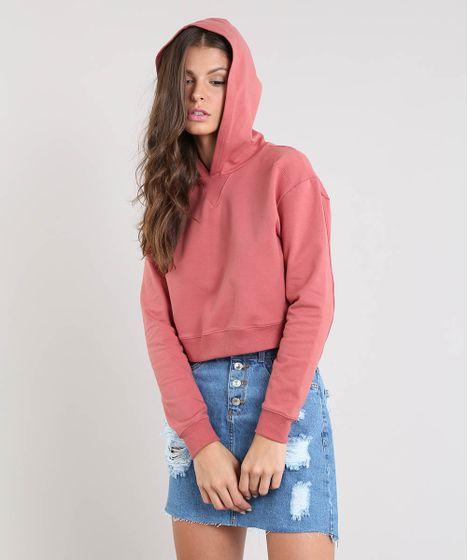 4bab7434f91 Blusão Feminino Básico Cropped com Capuz em Moletom Rosa - cea