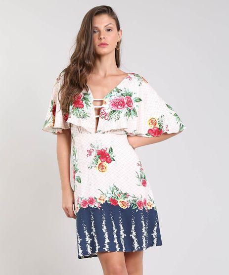 49d8288aa Vestido-Feminino-Curto-Estampado-Floral-com-Babado-Manga-