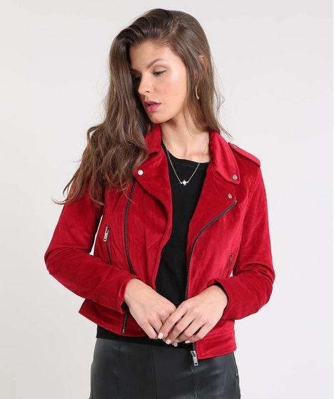 2de28e807 Jaqueta-Feminina-Biker-em-Veludo-Vermelha-9366404-Vermelho_1 ...