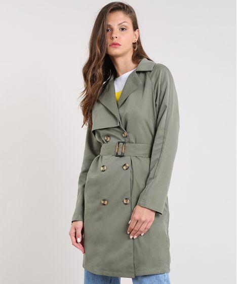 2587ad55c Casaco Trench Coat Feminino com Botões e Fivela Verde Militar - cea