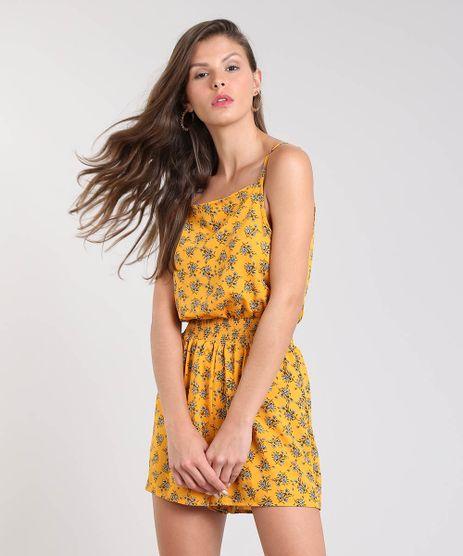 Macaquinho-Feminino-Estampado-Floral-e-Poa-Alca-Fina-Mostarda-9371995-Mostarda_1