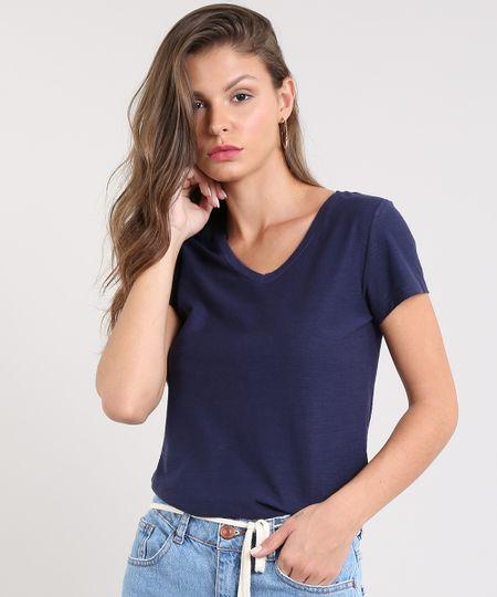 4f29e62408 Menor preço em Blusa Feminina Básica Flamê Decote V Manga Curta Azul Marinho