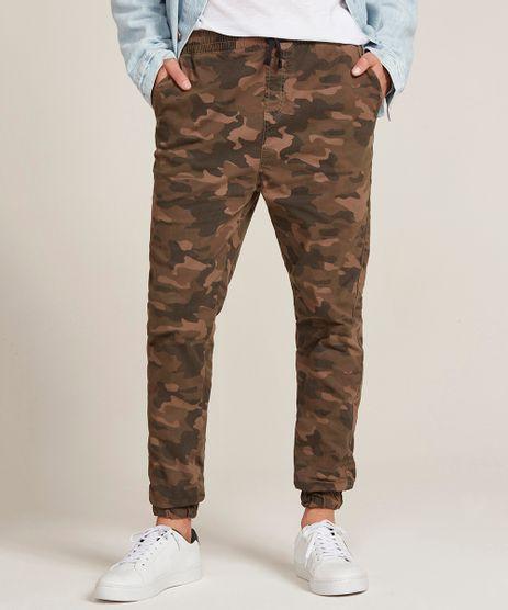 Calca-Jogger-Skinny-Masculina-Estampada-Camuflada-com-Bolsos-Marrom-9367325-Marrom_1