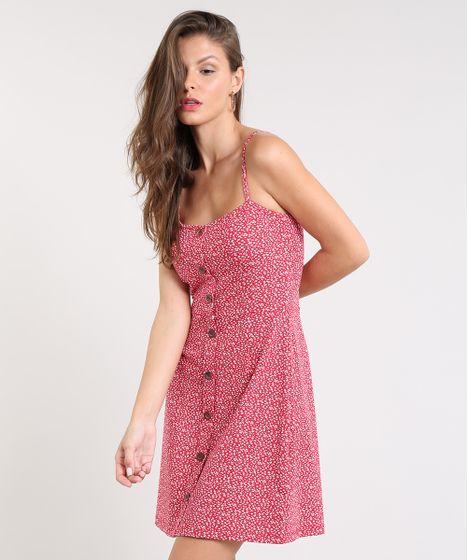 0d3cfcc06 Vestido Feminino Curto Estampado Floral com Botões Alça Fina ...