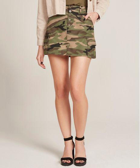 Saia-de-Sarja-Feminina-Cargo-Estampada-Camuflada-Verde-Militar-9532112-Verde_Militar_1