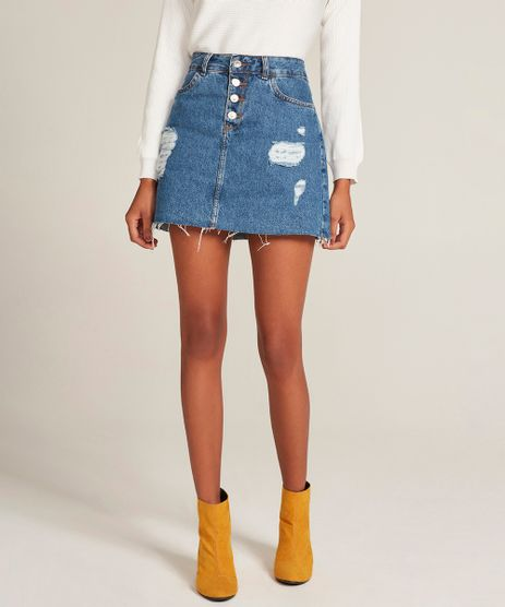 Saia-Jeans-Feminina-Evase-Destroyed-com-Barra-Desfiada-Azul-Medio-9310412-Azul_Medio_1