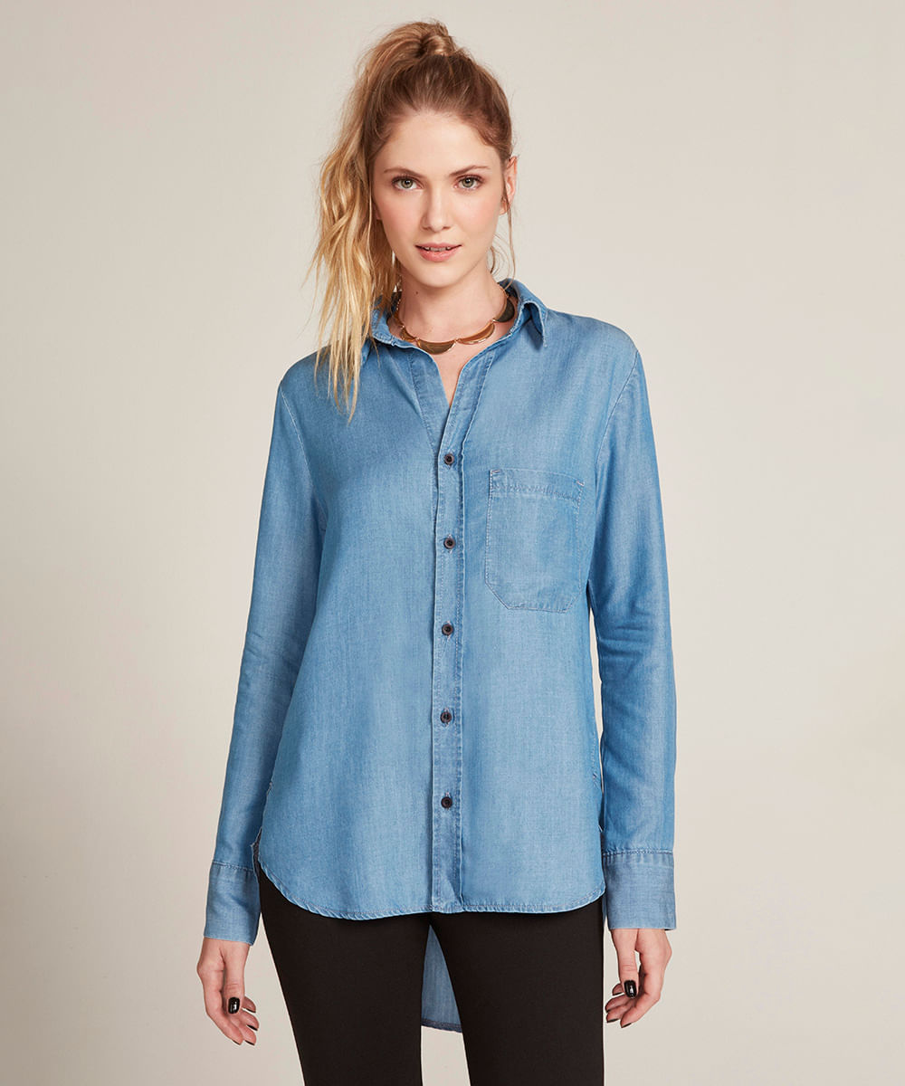e1ad923cd5 Camisa Feminina Jeans com Bolso Manga Longa Azul Médio - cea