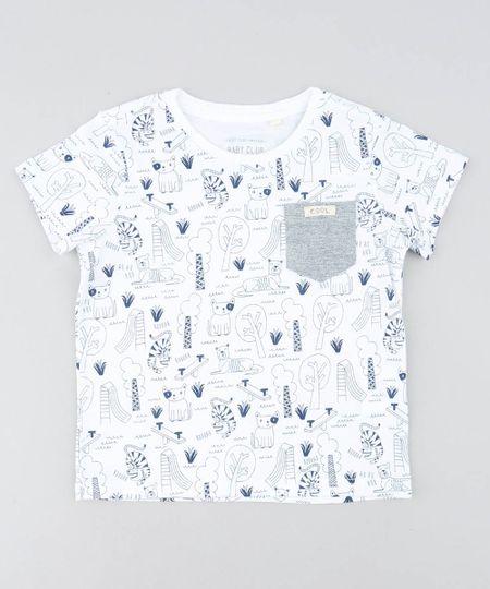 d13ebe91e02dee Camiseta Infantil Estampada de Animais Manga Curta Gola Careca ...