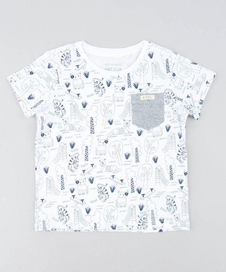 Camiseta-Infantil-Estampada-de-Animais-Manga-Curta-Gola-Careca-Branca-9449993-Branco_1