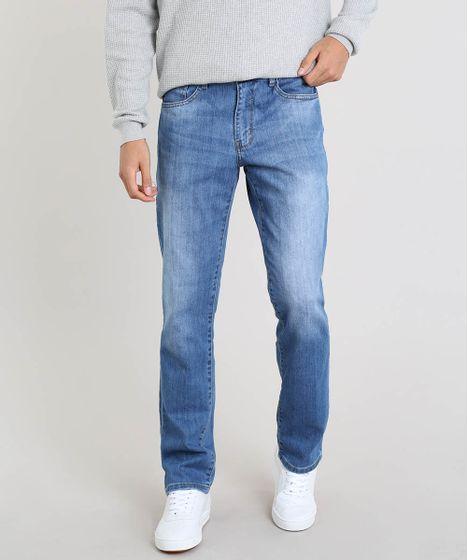 446825b111 Calça Jeans Masculina Reta com Bolsos Azul Médio - cea