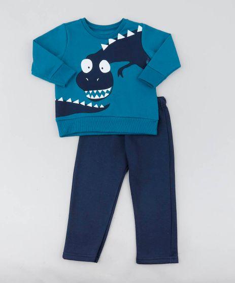 c3a6c29f68 Conjunto-Infantil-Dinossauro-de-Blusao-Azul-Petroleo---