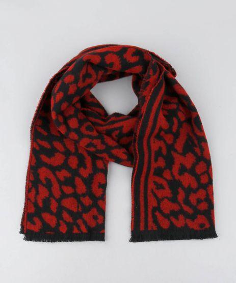 Cachecol-Feminino-em-Trico-Estampado-Animal-Print-Vermelho-9419003-Vermelho_1