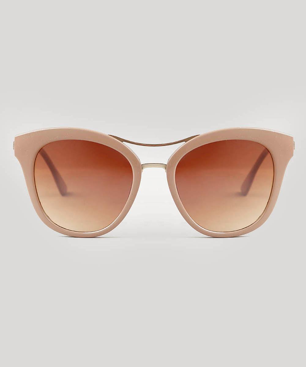 e4f5be5f4c Óculos de Sol Feminino Redondo Oneself Bege - ceacollections