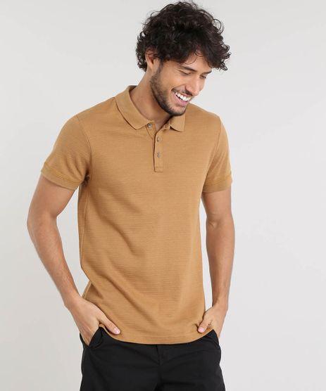 Polo-Masculina-Slim-Fit-Texturizada-Manga-Curta-Caramelo-9326298-Caramelo_1