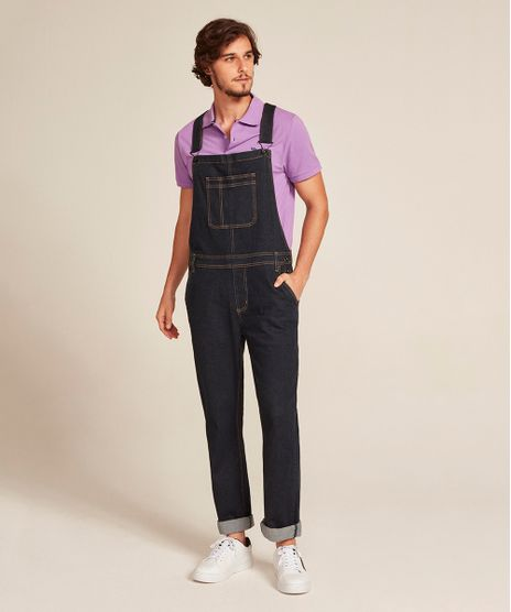 Macacao-Jeans-Masculino-Slim-com-Bolsos-Azul-Escuro-9450249-Azul_Escuro_1